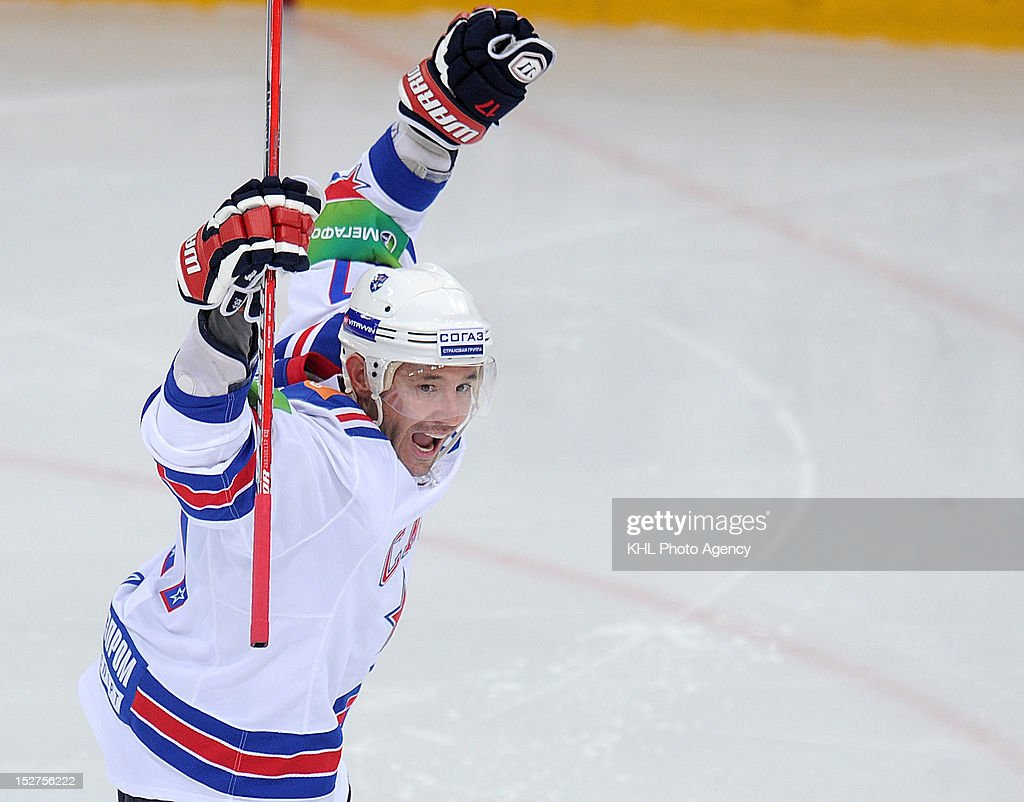 Ilya Kovalchuk #17 of the SKA celebrates a goal during the game between SKA Saint Petersburg and Dynamo Moscow during the KHL Championship 2012/13 on September 23, 2012 at the Arena Luzhniki in Moscow, Russia. The SKA won 3-1.