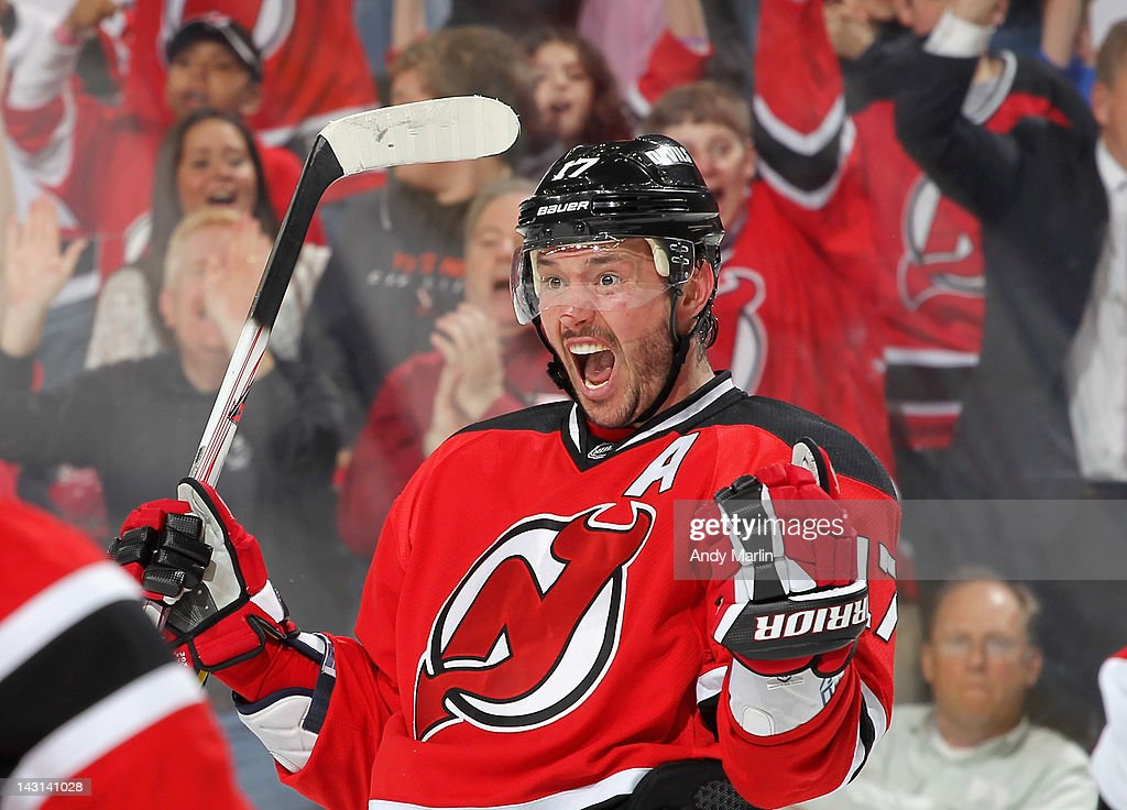Ilya Kovlachuk #17 of the New Jersey Devils reacts after scoring a third-period power play goal against the Florida Panthers in Game Four of the Eastern Conference Quarterfinals during the 2012 NHL Stanley Cup Playoffs at the Prudential Center on April 19, 2012 in Newark, New Jersey. The Devils defeated the Panthers 4-0.