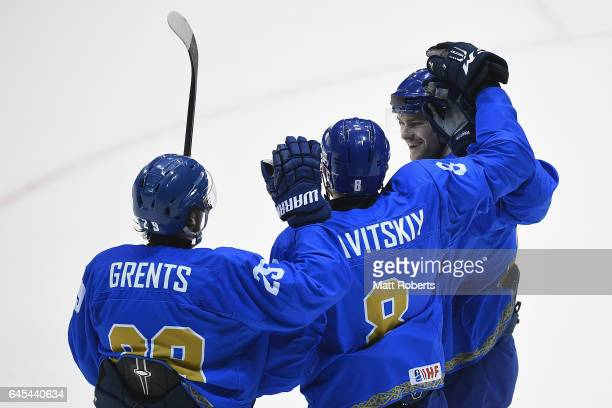 Ilya Kovzalov of Kazakhstan celebrates with team mates in the men's ice hockey match between Japan and Kazakhstan on day nine of the 2017 Sapporo...