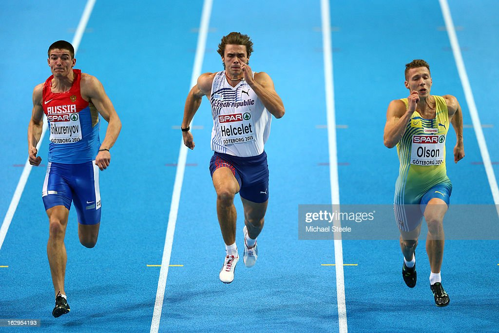 <a gi-track='captionPersonalityLinkClicked' href=/galleries/search?phrase=Ilya+Shkurenev&family=editorial&specificpeople=7110862 ng-click='$event.stopPropagation()'>Ilya Shkurenev</a> of Russia, Adam Helcelet of Czech Republic and Petter Olson of Sweden compete in the Men's Heptathlon 60m heats during day two of the European Athletics Indoor Championships at Scandinavium on March 2, 2013 in Gothenburg, Sweden.
