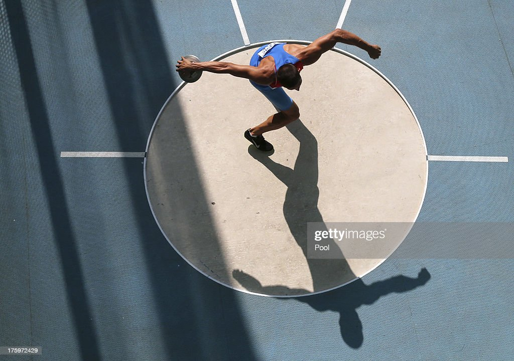 <a gi-track='captionPersonalityLinkClicked' href=/galleries/search?phrase=Ilya+Shkurenev&family=editorial&specificpeople=7110862 ng-click='$event.stopPropagation()'>Ilya Shkurenev</a> of Russia competes in the men's decathlon discus throw event during Day Two of the 14th IAAF World Athletics Championships Moscow 2013 at Luzhniki Stadium on August 11, 2013 in Moscow, Russia.