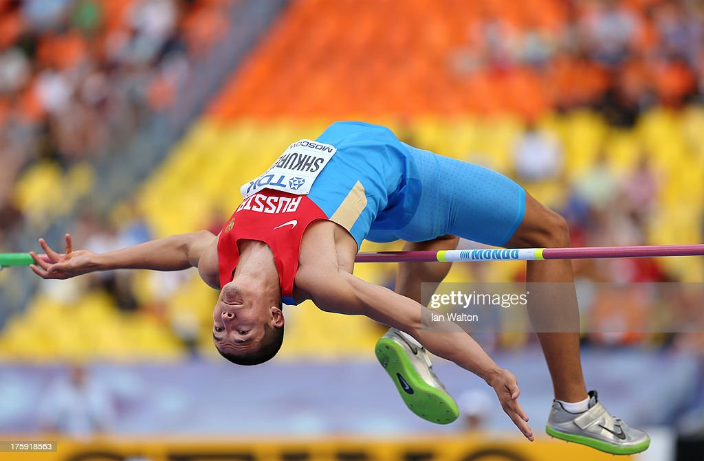 <a gi-track='captionPersonalityLinkClicked' href=/galleries/search?phrase=Ilya+Shkurenev&family=editorial&specificpeople=7110862 ng-click='$event.stopPropagation()'>Ilya Shkurenev</a> of Russia competes in the Men's Decathlon High Jump during Day One of the 14th IAAF World Athletics Championships Moscow 2013 at Luzhniki Stadium on August 10, 2013 in Moscow, Russia.