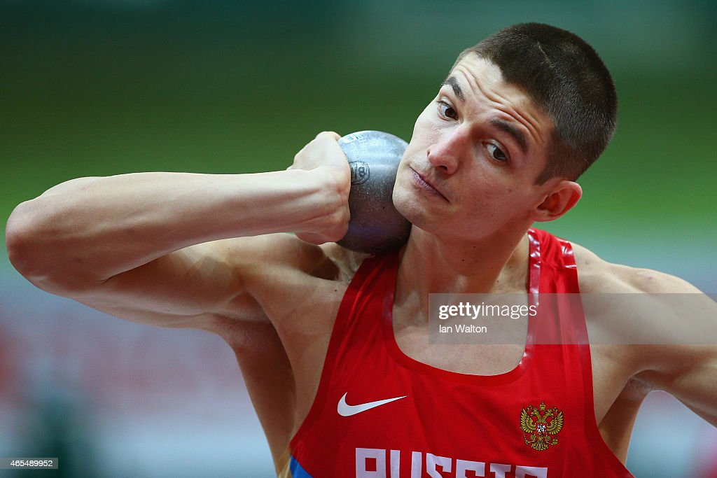 Ilya Shkurenyov of Russia competes in the Men's Heptathlon Shot Put during day two of the 2015 European Athletics Indoor Championships at O2 Arena on March 7, 2015 in Prague, Czech Republic.