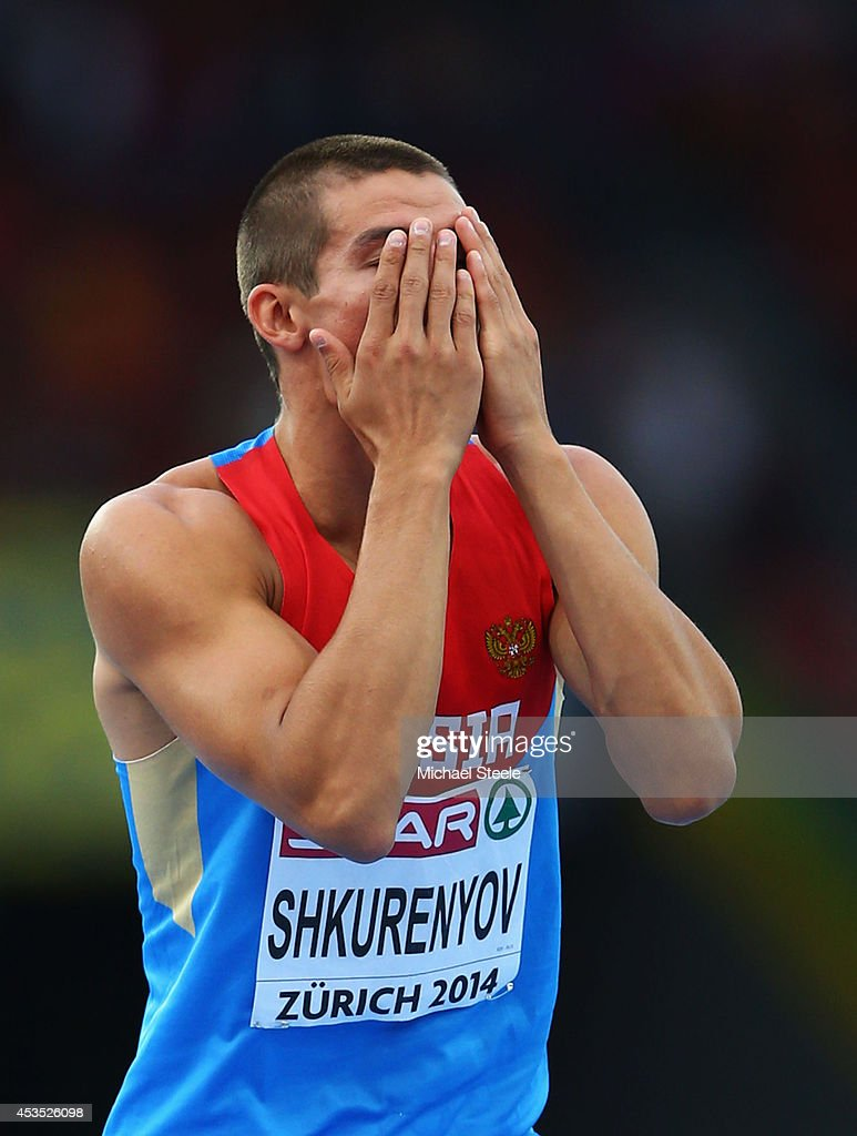 Ilya Shkurenyov of Russia reacts as he competes in the Men's Decathlon High Jump during day one of the 22nd European Athletics Championships at Stadium Letzigrund on August 12, 2014 in Zurich, Switzerland.