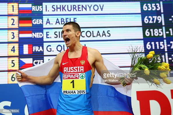 Ilya Shkurenyov of Russia wins gold in Men's Heptathlon during day three of the 2015 European Athletics Indoor Championships at O2 Arena on March 8...