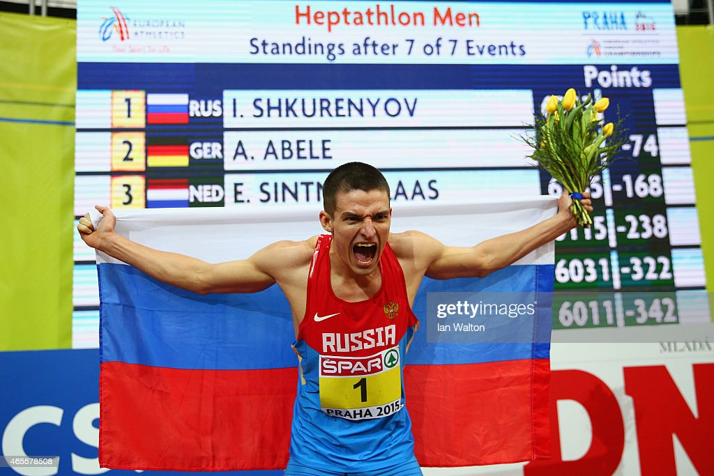Ilya Shkurenyov of Russia wins gold in Men's Heptathlon during day three of the 2015 European Athletics Indoor Championships at O2 Arena on March 8, 2015 in Prague, Czech Republic.