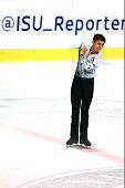 Ilya Solomin of Sweden skates during the junior men short dance of the ISU Junior Grand Prix at Dom Sportova on October 8 2015 in Zagreb Croatia