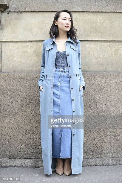 Ilyana Erdneeva poses before Ermanno Scervino show on February 28 2015 in Milan Italy
