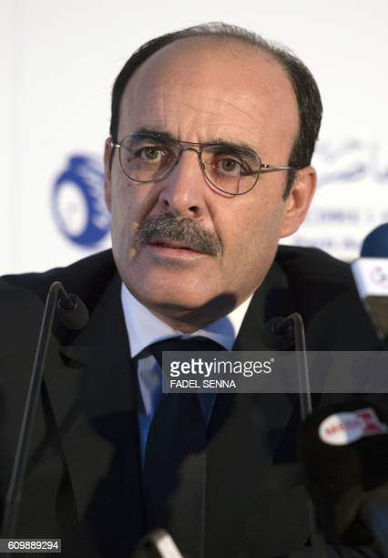 Ilyas el Omari Vice Secretary General of Morocco's Party of Authenticity and Modernity speaks during a press conference on September 23 in Casablanca...