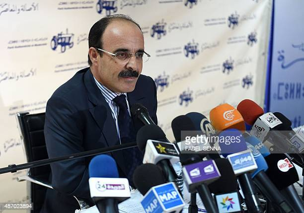 Ilyas el Omari Vice Secretary General of the Party of Authenticity and Modernity speaks during a press conference following the results from Moroccan...