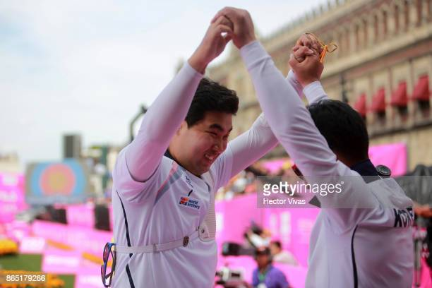 Im Dong Hyun of Korea celebrates after winning the Gold in Recurve Men Competition as part of the Mexico City 2017 World Archery Championships at...
