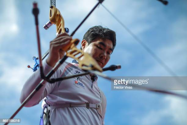 Im Dong Hyun of Korea celebrates after winning the Gold Recurve Men Competition as part of the Mexico City 2017 World Archery Championships at Zocalo...