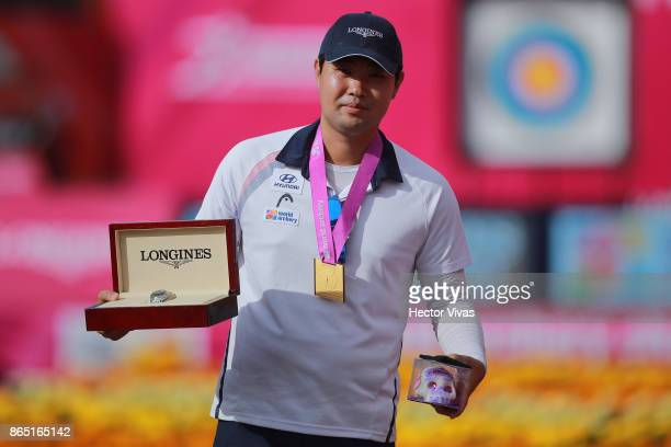 Im Dong Hyun of Korea celebrates with his gold medal after winning the Gold Recurve Men Competition as part of the Mexico City 2017 World Archery...