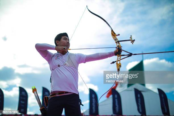 Im Dong Hyun of Korea lines up an arrow during the Gold Recurve Men Competition as part of the Mexico City 2017 World Archery Championships at Zocalo...