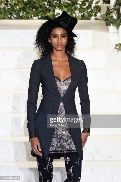 Imaan Hammam walks the runway at La Perla fashion show Fall/Winter 20172018 Ready To Wear Show at SIR Stage 37 on February 9 2017 in New York City