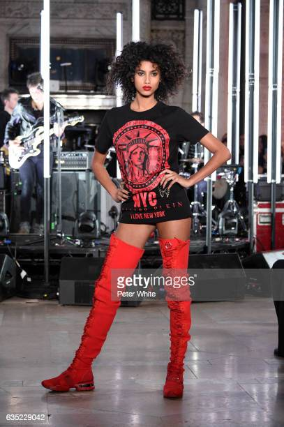 Imaan Hammam walks the runway at Philipp Plein show during New York Fashion Week The Shows at New York Public Library on February 13 2017 in New York...