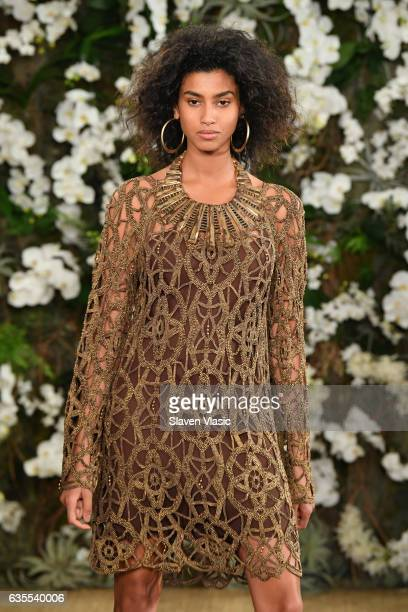 Imaan Hammam walks the runway for Ralph Lauren collection during New York Fashion Week on February 15 2017 in New York City