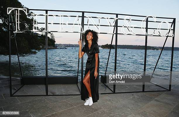 Imaan Hamman arrives ahead of the Tiffany Co Start of Summer and The Return to Tiffany Love Collections event at Cathona on December 1 2016 in Sydney...