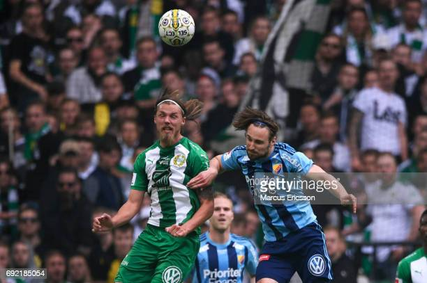 Imad Khalili of Hammarby IF and Kevin Walker of Djurgardens IF competes for the ball during the Allsvenskan match between Hammarby IF and Djurgardens...