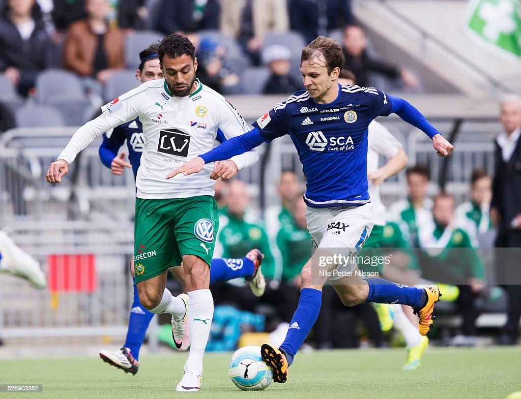Imad Khalili of Hammarby IF and Lars Krogh Gerson of GIF Sundsvall competes for the ball during the Allsvenskan match between Hammarby IF and GIF Sundsvall at Tele2 Arena on May 1, 2016 in Stockholm, Sweden.