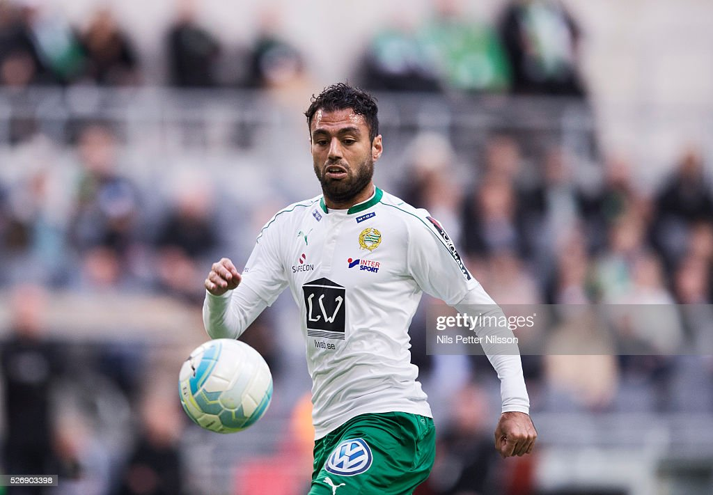Imad Khalili of Hammarby IF during the Allsvenskan match between Hammarby IF and GIF Sundsvall at Tele2 Arena on May 1, 2016 in Stockholm, Sweden.