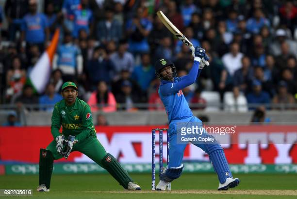 Imad Wasim of India hits out for six runs during the ICC Champions Trophy match between India and Pakistan at Edgbaston on June 4 2017 in Birmingham...
