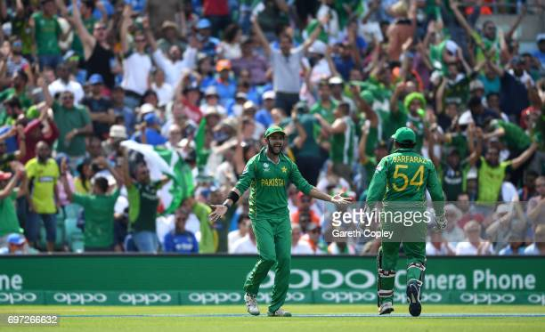 Imad Wasim of Pakistan celebrates catching out MS Dhoni of India during the ICC Champions Trophy Final between India and Pakistan at The Kia Oval on...