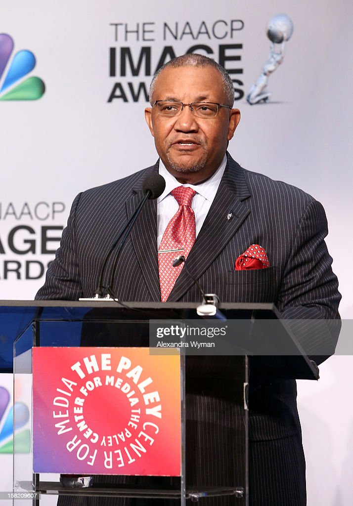 Image Awards Chairman Leonard James III speaks at the podium onstage at the 44th NAACP Image Awards Nominations Announcement Press Conference at The Paley Center for Media on December 11, 2012 in Beverly Hills, California.