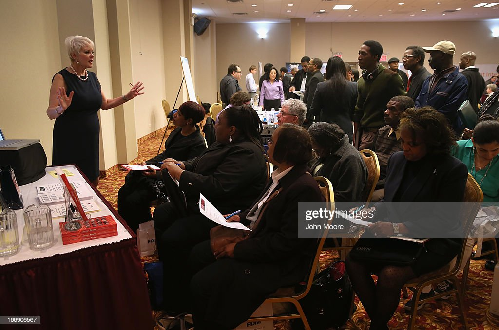 Image consultant Judith Ann Graham teaches a course called 'Your Image Power' to job seekers at a career fair on April 18, 2013 at the Holiday Inn in Midtown in New York City. The event was held by National Career Fairs which expected some 700 job seekers would come to meet 20 potential employers.
