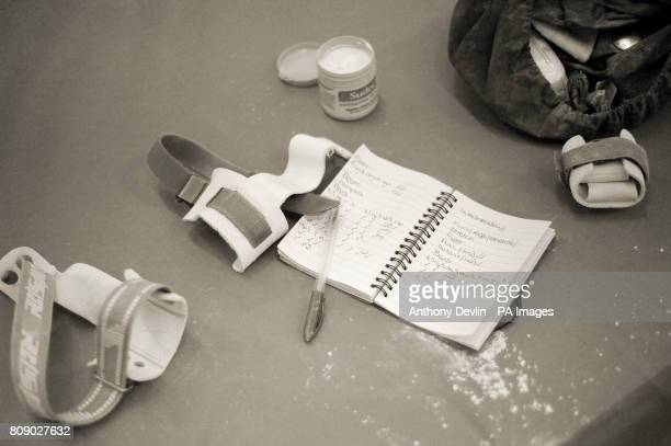 Image converted to sepia in photoshop Beth Tweddle's notebook during the media open day at Lilleshall National Sports Centre in Shropshire ahead of...