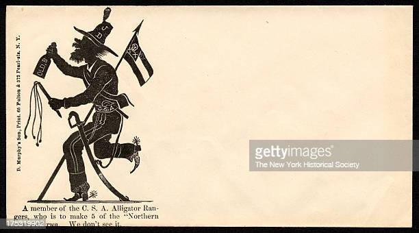 Image depicts a silhouette of a stereotypical Southerner with a whip a saber liquor bottle and 'JD' on his hat Text reads 'A member of the CSA...