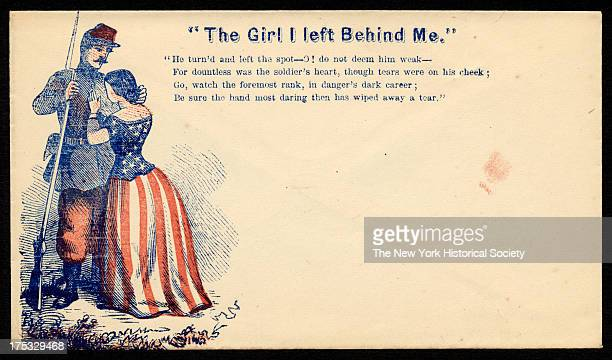 Image depicts a soldier bidding goodbye to a woman dressed in stars and stripes Text reads 'He turn'd and left the spotO do not deem him weak For...