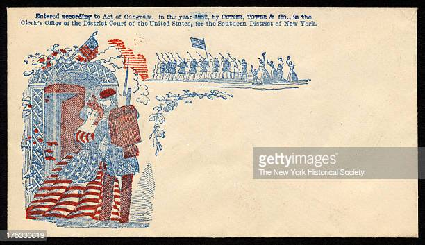 Image depicts a soldier bidding goodbye to woman dressed in stars and stripes while in background woman and children waving to soldiers