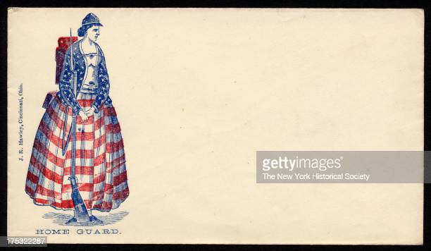 Image depicts a woman dressed in stars and stripes with rifle backpack and military hat