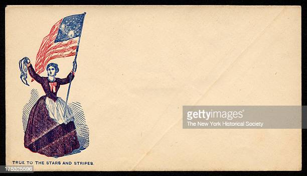 Image depicts a woman holding the American flag and waving a handkerchief