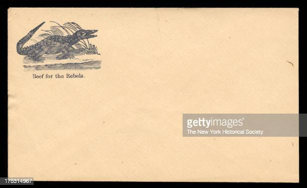 Image depicts an alligator on the banks of a river Text reads 'Beef for the rebels'