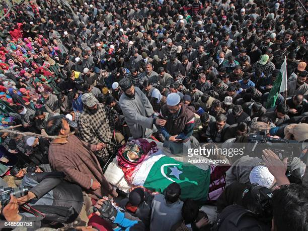 Image depicts death] Thousands attend the funeral of top rebel commander Aqib Ahmad Bhat alias Aqib Molvi in south Kashmir's Hyuna village of Tral...
