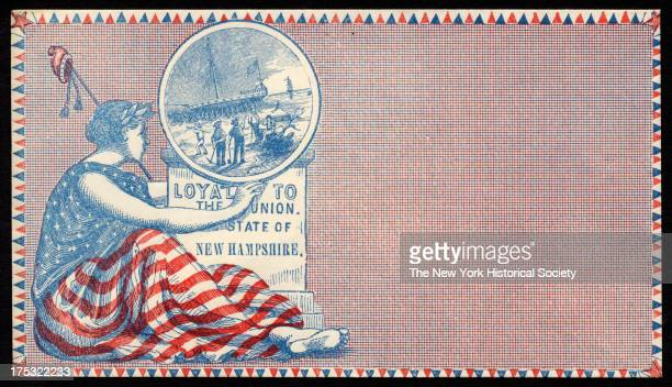 Image depicts Liberty wrapped in American flag as she holds aloft the New Hampshire state seal