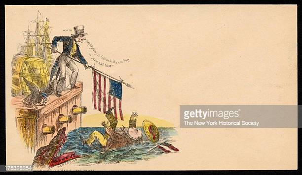 Image depicts Uncle Sam holding a flag out to a man labeled 'South' who has fallen off a dock loaded with provisions as an alligator labeled...