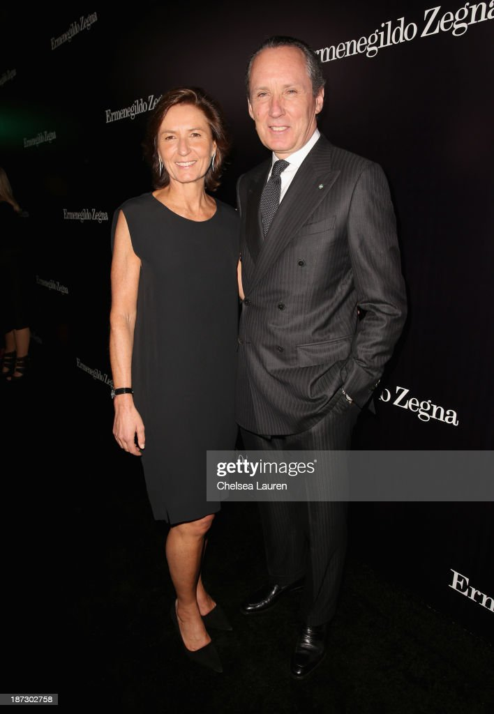 Image Director of Ermenegildo Zegna Group <a gi-track='captionPersonalityLinkClicked' href=/galleries/search?phrase=Anna+Zegna&family=editorial&specificpeople=3053409 ng-click='$event.stopPropagation()'>Anna Zegna</a> and CEO of Ermenegildo Zegna Group Gildo Zegna attend Ermenegildo Zegna Global Store Opening hosted by Gildo Zegna and Stefano Pilati at Ermenegildo Zegna Boutique on November 7, 2013 in Beverly Hills, California.