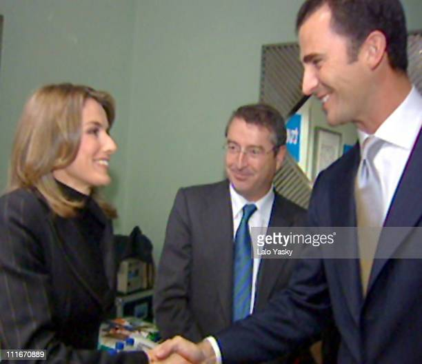 Felipe and Letizia During a Meeting of CrownPrince and Journalsits of TVE Before the Ceremony of the 'Prince of Asturias Awards' in Oviedo