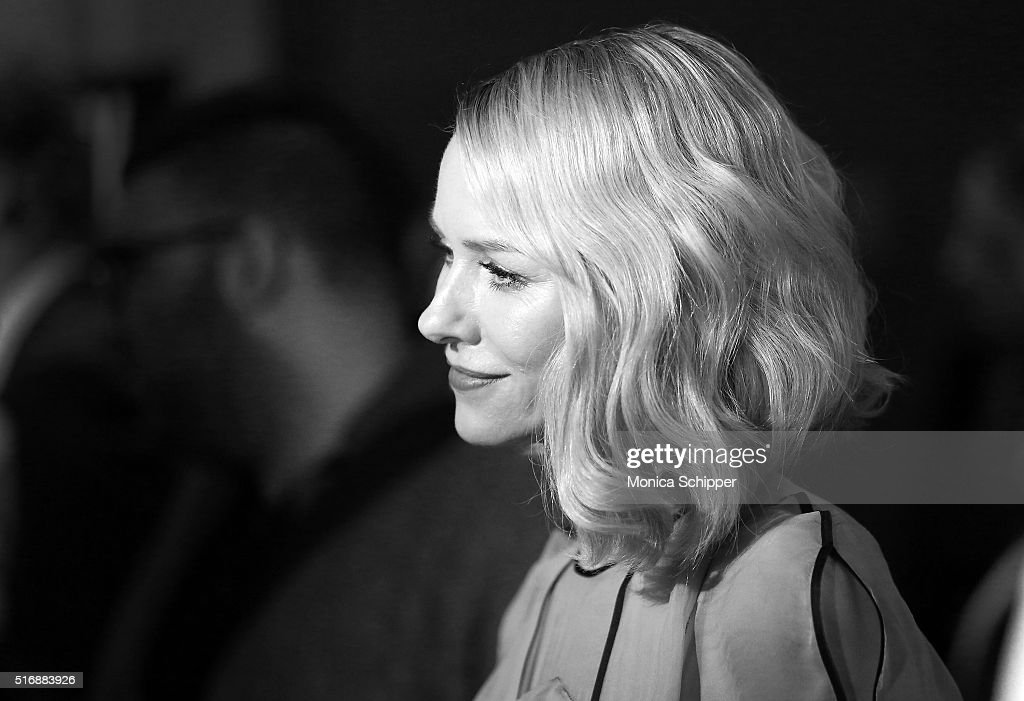Image has been converted to black and white. Actress Naomi Watts attends Fox Searchlight Pictures with The Cinema Society Host A Screening of 'Demolition' at SVA Theatre on March 21, 2016 in New York City.