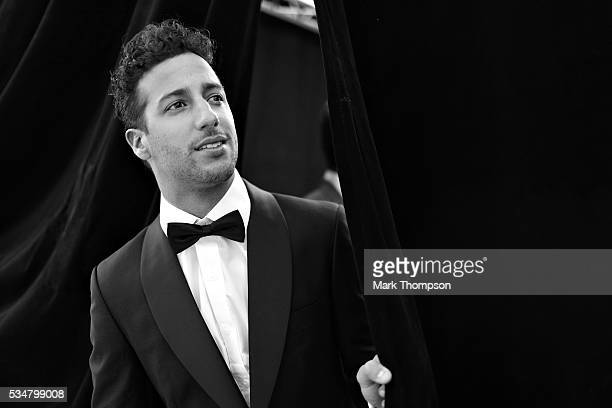 Image has been converted to black and white Daniel Ricciardo of Australia and Red Bull Racing backstage at the Amber Lounge fashion show during...