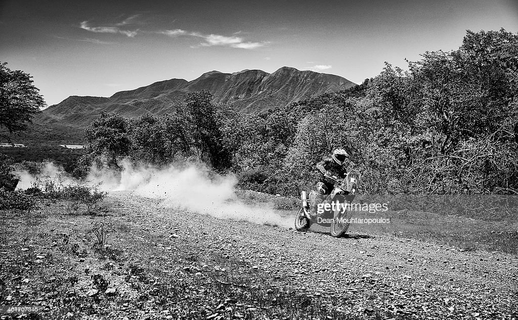 Image has been converted to black and white.) (#4) Jordi Viladoms of Spain of Gas - Gas Factory JVO Team competes during Day 6 of the 2014 Dakar Rally on January 10, 2014 near Embalse Cabra Corral, Argentina.