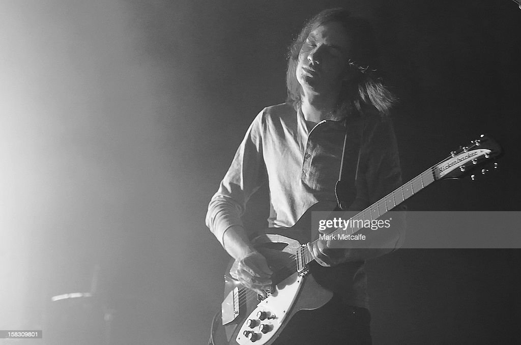 Image has been converted to black and white) Kevin Parker of Tame Impala performs for fans at Enmore Theatre on December 13, 2012 in Sydney, Australia.