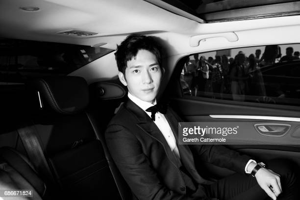Image has been digitally altered Jing Boran departs the Martinez Hotel on May 20 2017 in Cannes France