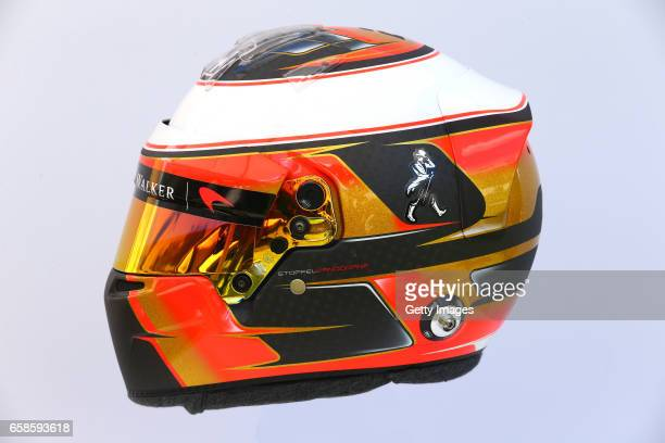 Image has been digitally manipulated The helmet of Stoffel Vandoorne of Belgium and McLaren Honda during previews to the F1 Australian Grand Prix at...