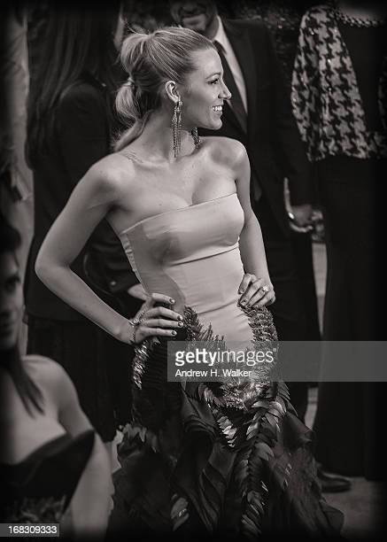 image has been digitally processed and converted to black and white] Blake Lively attends the Costume Institute Gala for the 'PUNK Chaos to Couture'...