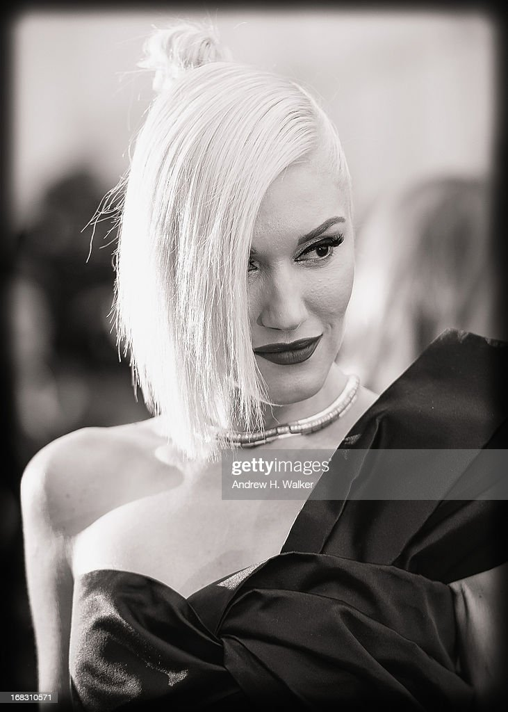 image has been digitally processed and converted to black and white] Gwen Stefani attends the Costume Institute Gala for the 'PUNK: Chaos to Couture' exhibition at the Metropolitan Museum of Art on May 6, 2013 in New York City.