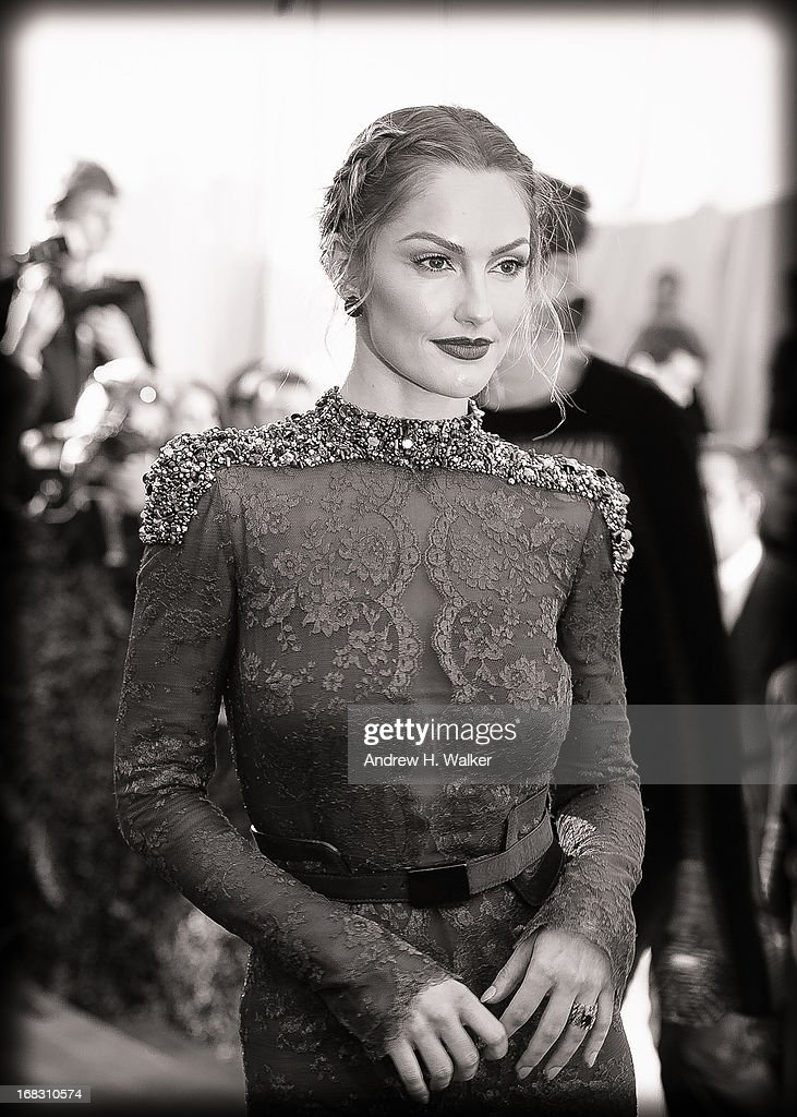 image has been digitally processed and converted to black and white] Minka Kelly attends the Costume Institute Gala for the 'PUNK: Chaos to Couture' exhibition at the Metropolitan Museum of Art on May 6, 2013 in New York City.